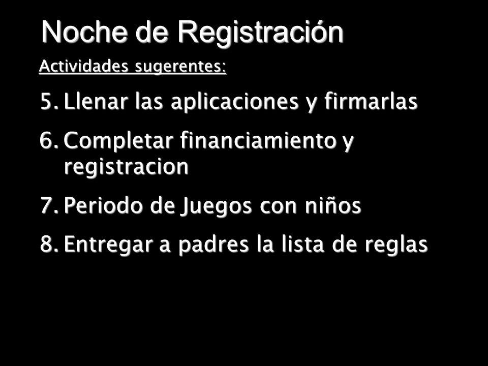 Noche de Registración Actividades sugerentes: 5.Llenar las aplicaciones y firmarlas 6.Completar financiamiento y registracion 7.Periodo de Juegos con