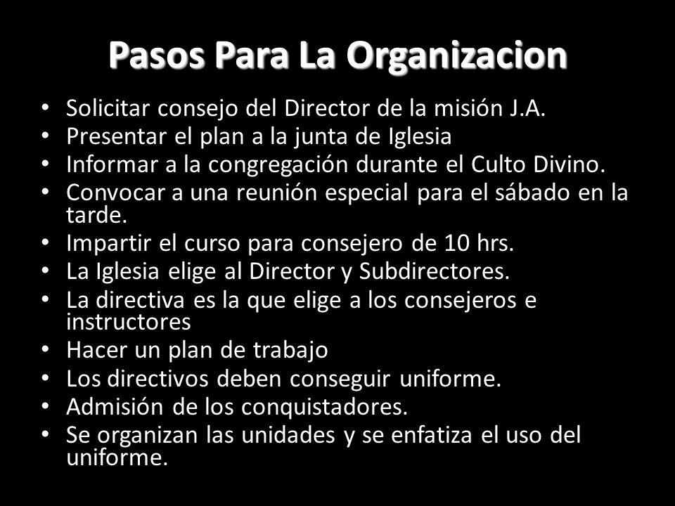 Pasos Para La Organizacion Solicitar consejo del Director de la misión J.A. Presentar el plan a la junta de Iglesia Informar a la congregación durante