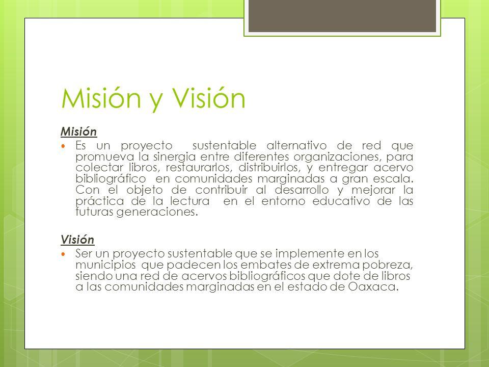 Misión y Visión Misión Es un proyecto sustentable alternativo de red que promueva la sinergia entre diferentes organizaciones, para colectar libros, restaurarlos, distribuirlos, y entregar acervo bibliográfico en comunidades marginadas a gran escala.