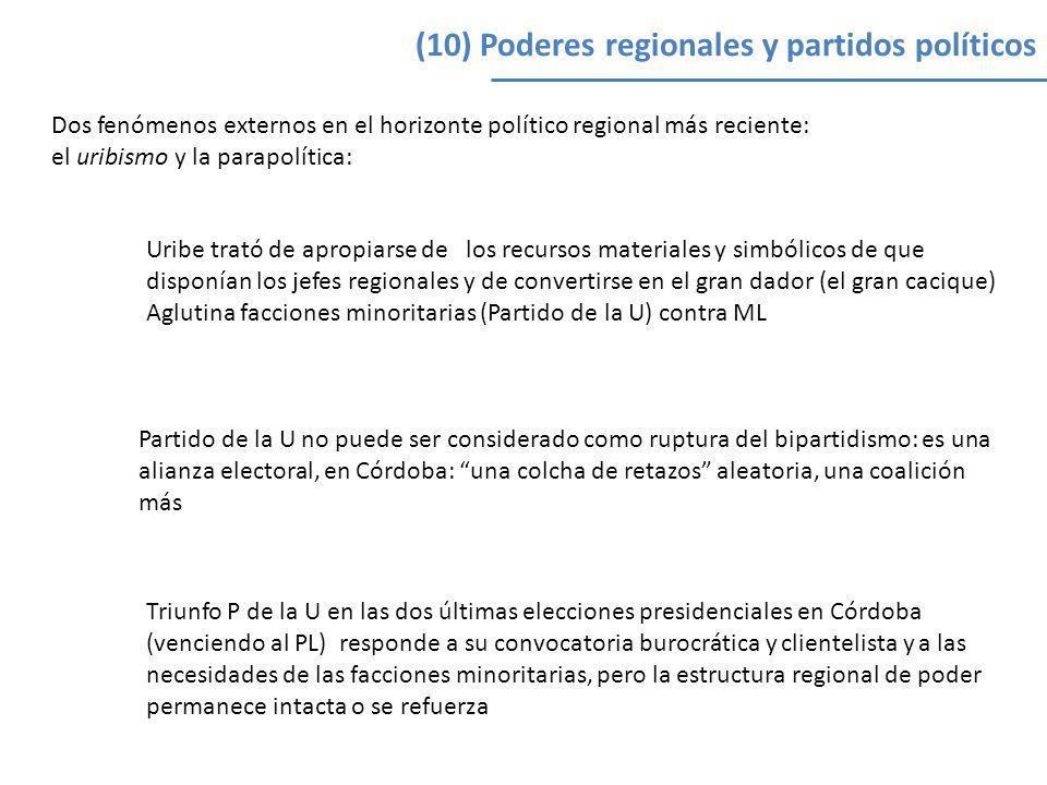 (10) Poderes regionales y partidos políticos Dos fenómenos externos en el horizonte político regional más reciente: el uribismo y la parapolítica: Uri