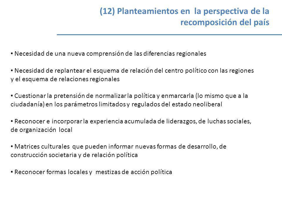 (12) Planteamientos en la perspectiva de la recomposición del país Necesidad de una nueva comprensión de las diferencias regionales Necesidad de repla