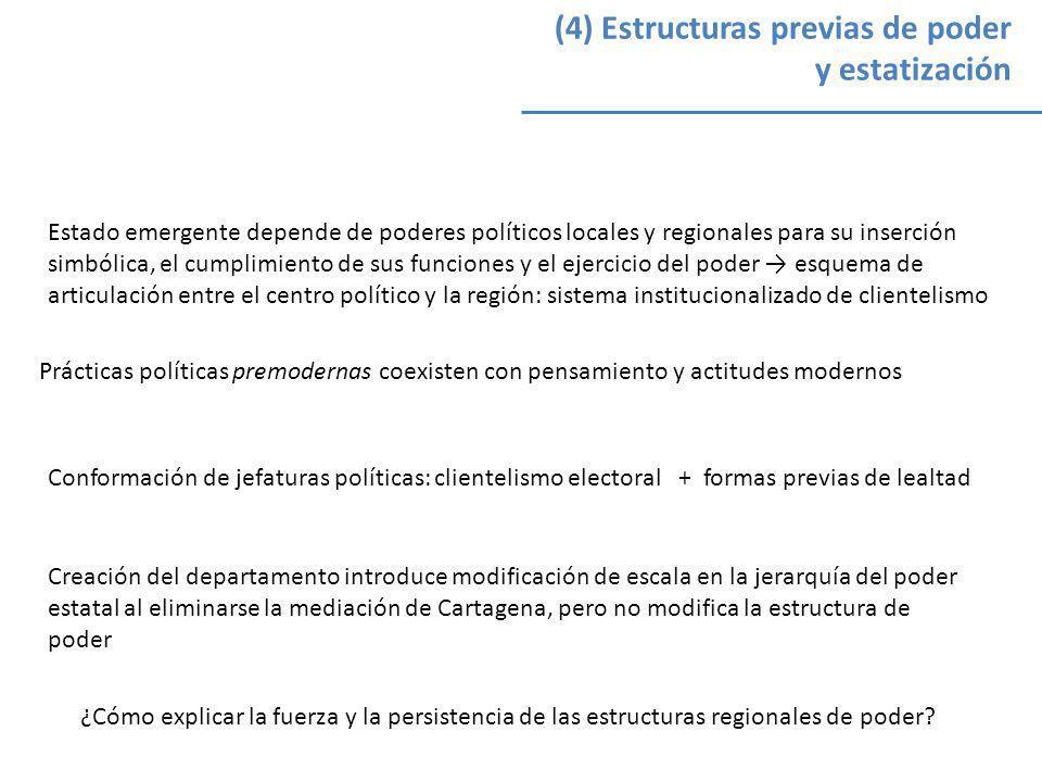 (4) Estructuras previas de poder y estatización Estado emergente depende de poderes políticos locales y regionales para su inserción simbólica, el cum