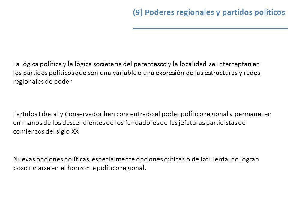 (9) Poderes regionales y partidos políticos La lógica política y la lógica societaria del parentesco y la localidad se interceptan en los partidos pol