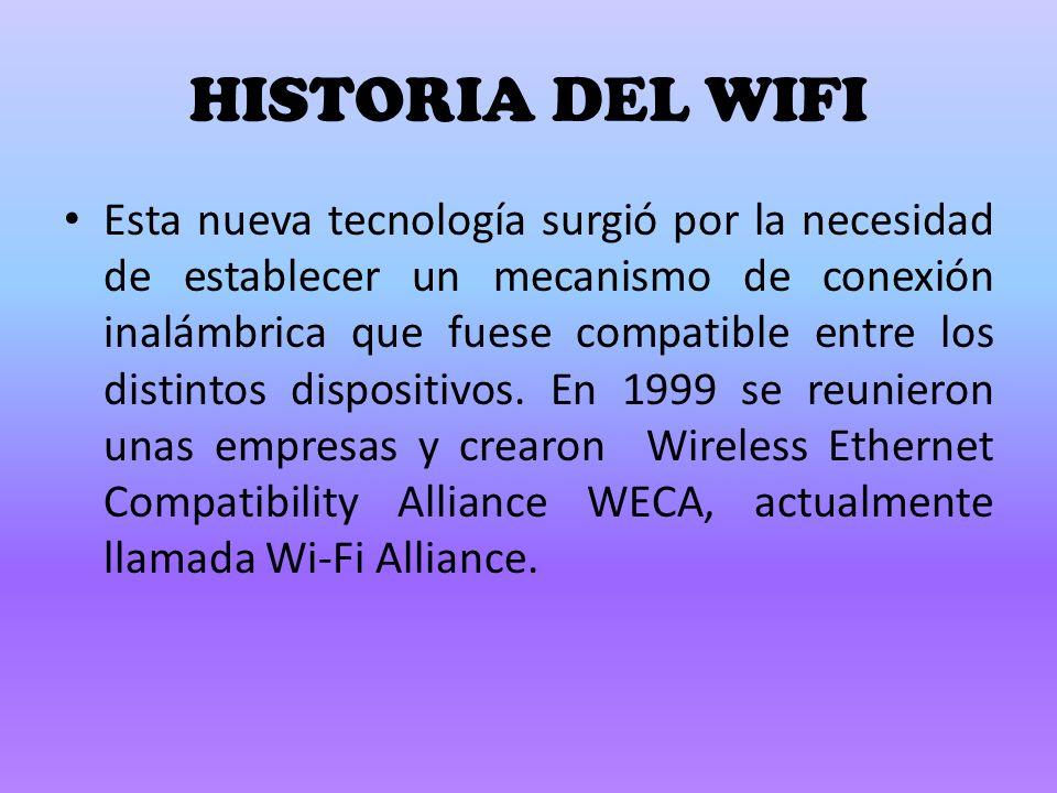 HISTORIA DEL WIFI Esta nueva tecnología surgió por la necesidad de establecer un mecanismo de conexión inalámbrica que fuese compatible entre los distintos dispositivos.