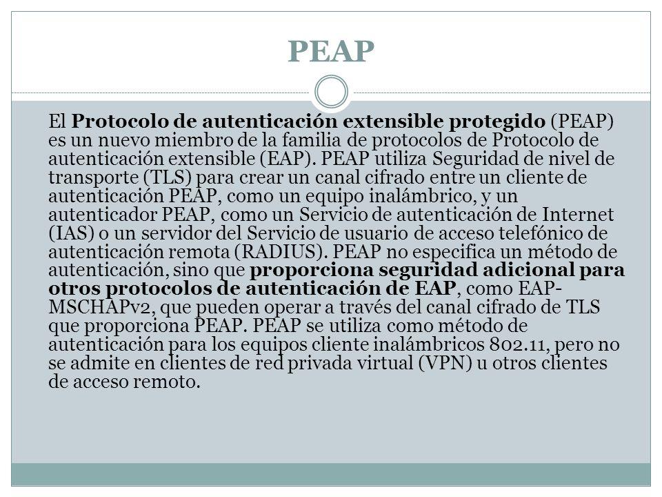 PEAP El Protocolo de autenticación extensible protegido (PEAP) es un nuevo miembro de la familia de protocolos de Protocolo de autenticación extensible (EAP).