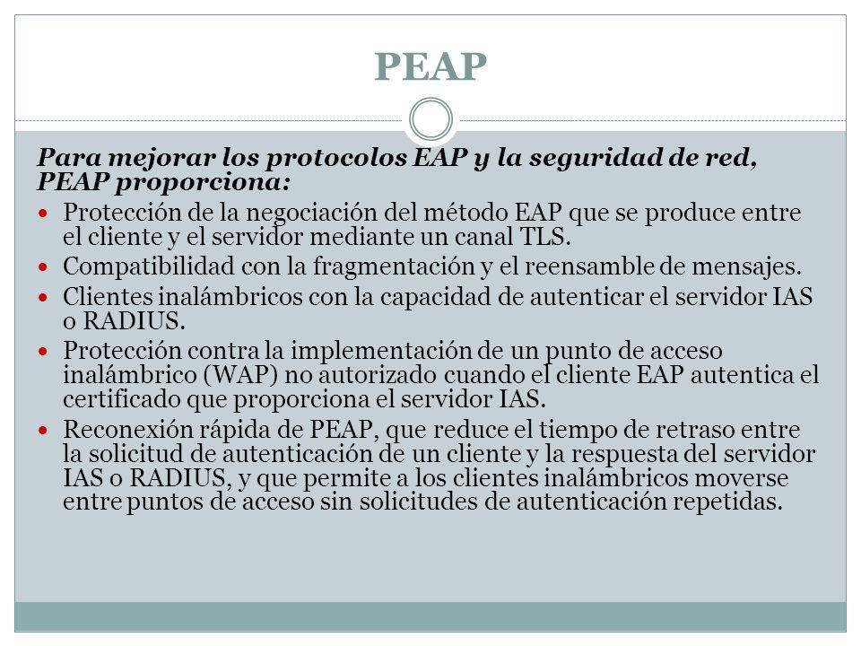 PEAP Para mejorar los protocolos EAP y la seguridad de red, PEAP proporciona: Protección de la negociación del método EAP que se produce entre el cliente y el servidor mediante un canal TLS.