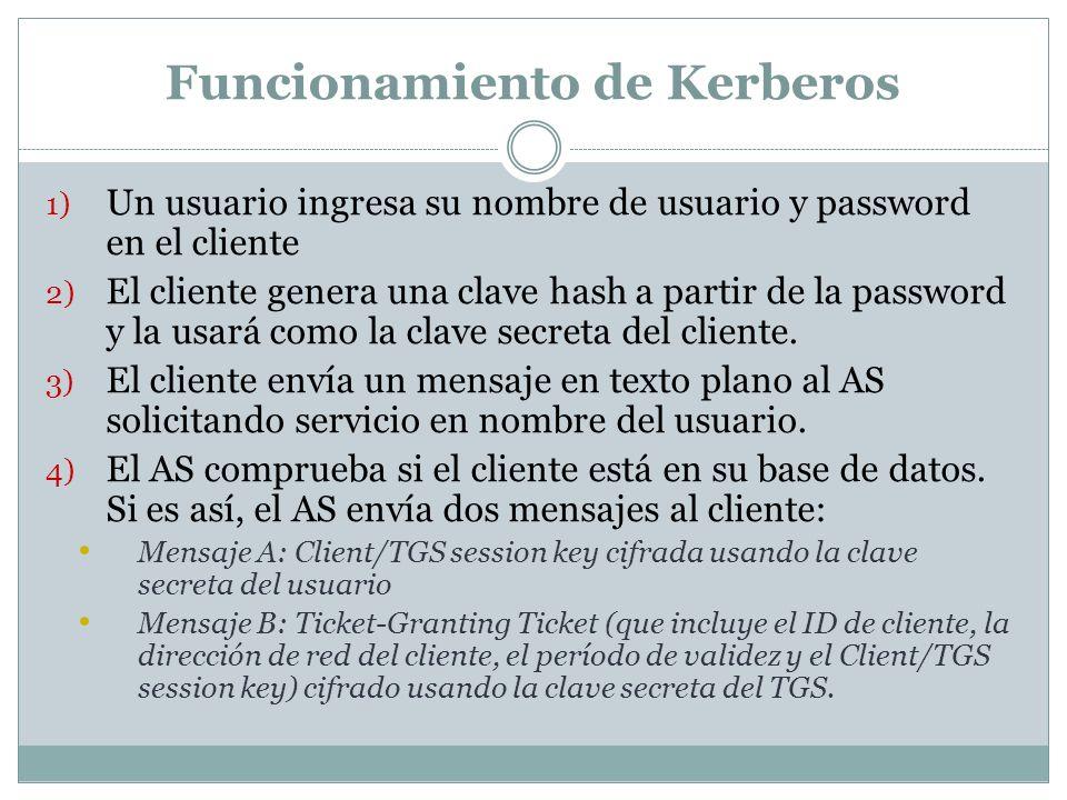 Funcionamiento de Kerberos 1) Un usuario ingresa su nombre de usuario y password en el cliente 2) El cliente genera una clave hash a partir de la pass