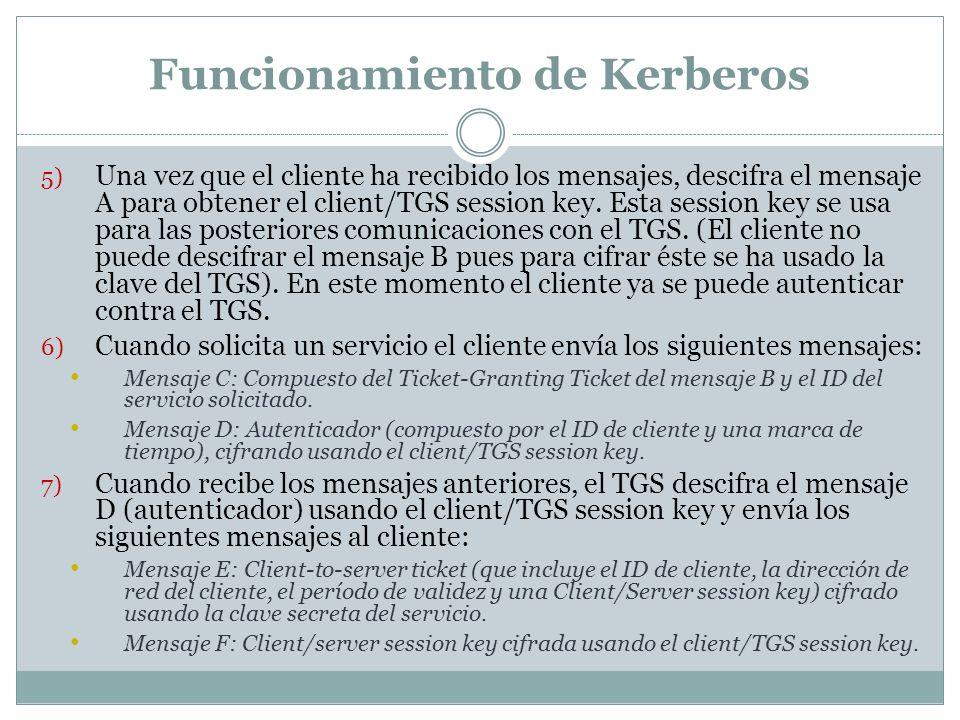 Funcionamiento de Kerberos 5) Una vez que el cliente ha recibido los mensajes, descifra el mensaje A para obtener el client/TGS session key. Esta sess
