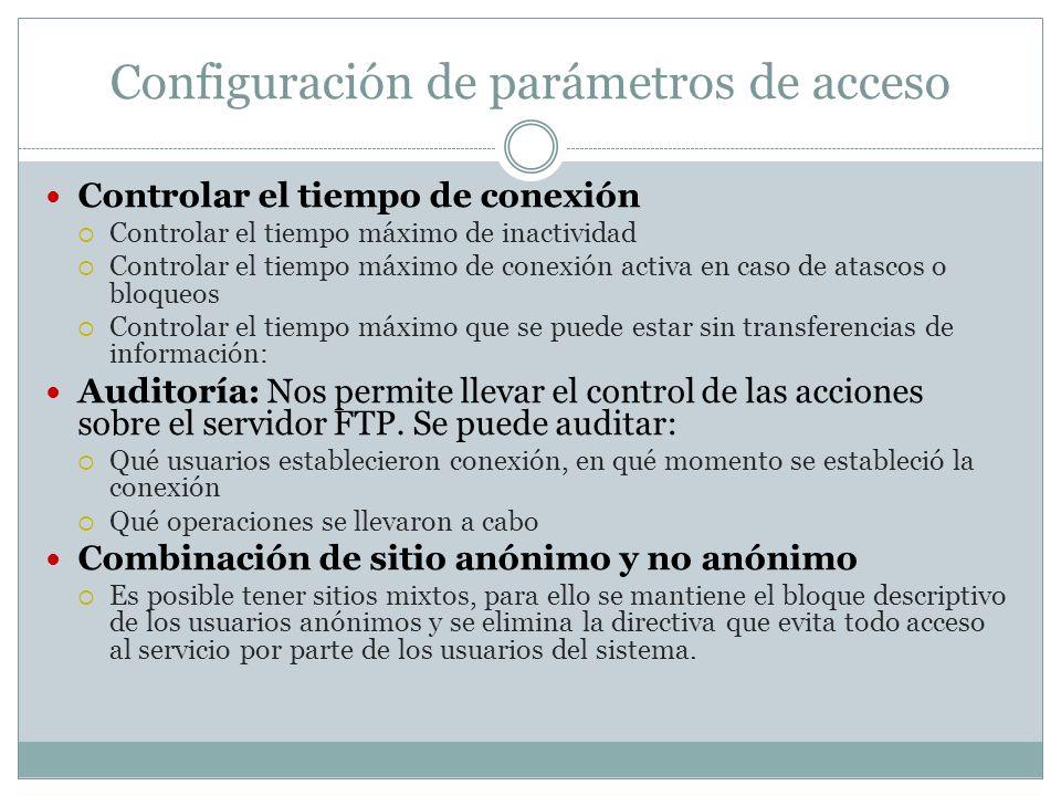 Configuración de parámetros de acceso Controlar el tiempo de conexión Controlar el tiempo máximo de inactividad Controlar el tiempo máximo de conexión