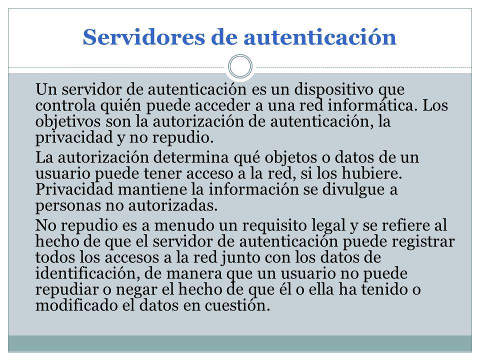 Un servidor de autenticación es un dispositivo que controla quién puede acceder a una red informática. Los objetivos son la autorización de autenticac