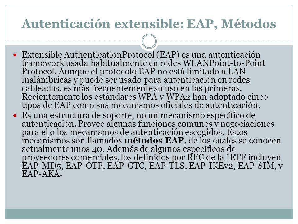 Autenticación extensible: EAP, Métodos Extensible AuthenticationProtocol (EAP) es una autenticación framework usada habitualmente en redes WLANPoint-to-Point Protocol.