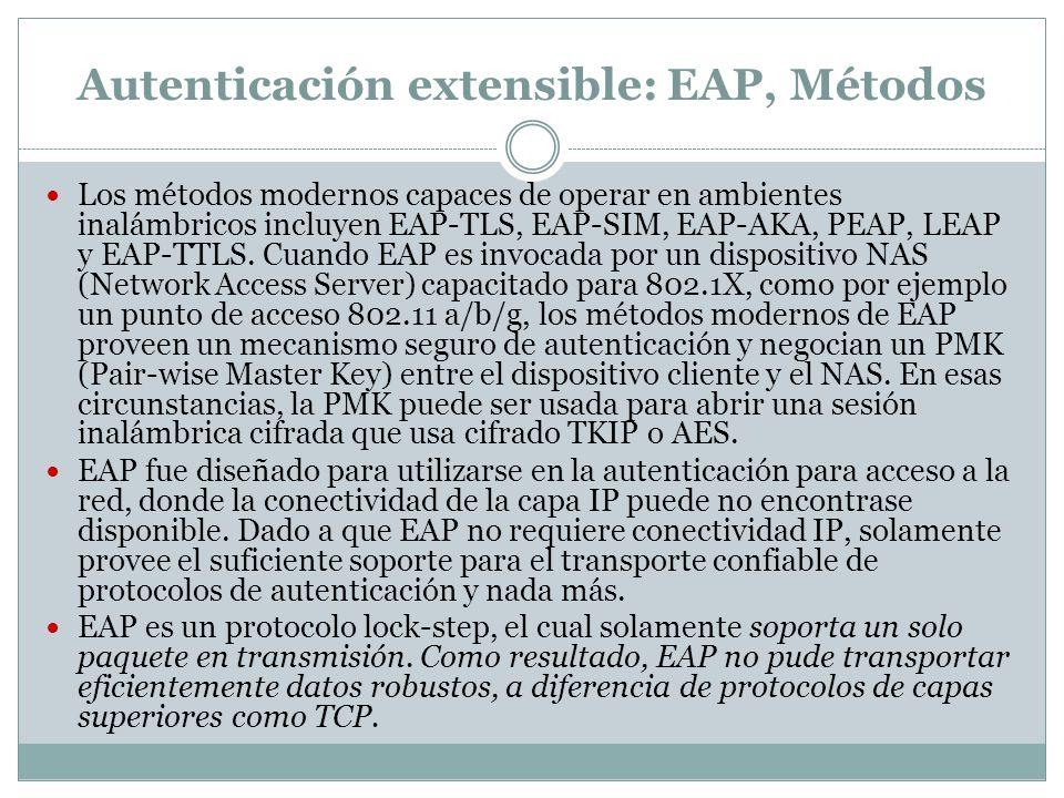 Autenticación extensible: EAP, Métodos Los métodos modernos capaces de operar en ambientes inalámbricos incluyen EAP-TLS, EAP-SIM, EAP-AKA, PEAP, LEAP y EAP-TTLS.