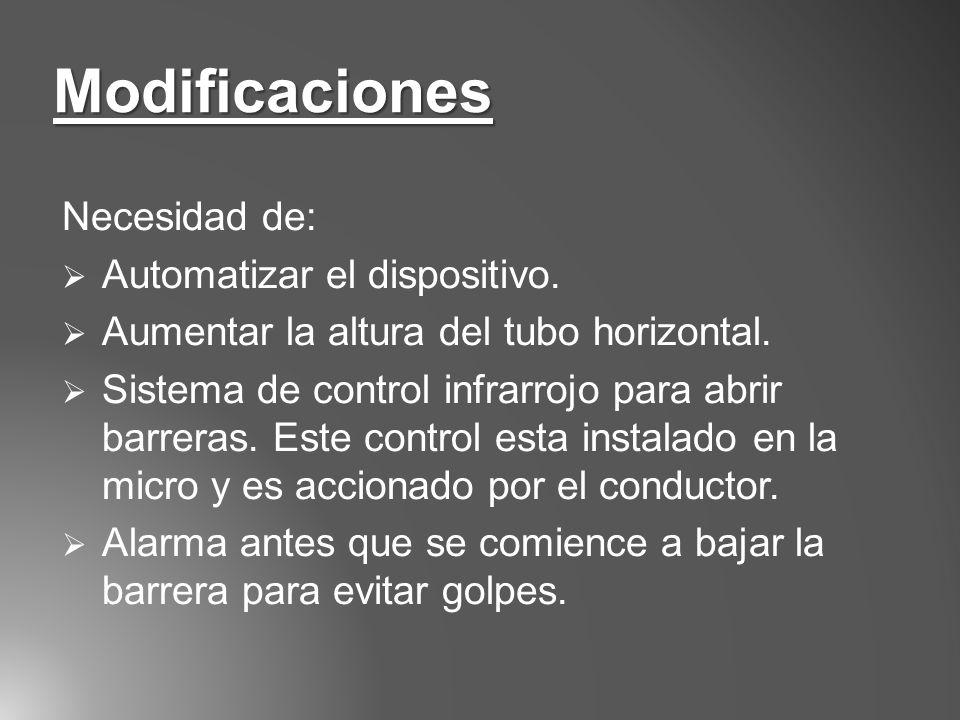 Necesidad de: Automatizar el dispositivo. Aumentar la altura del tubo horizontal. Sistema de control infrarrojo para abrir barreras. Este control esta