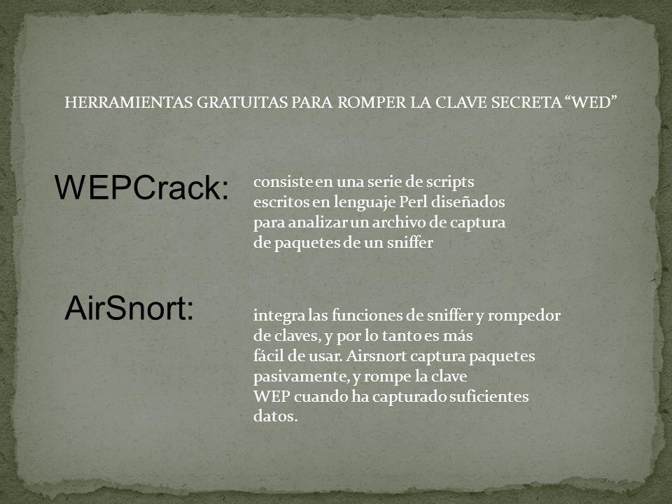 HERRAMIENTAS GRATUITAS PARA ROMPER LA CLAVE SECRETA WED WEPCrack: AirSnort: integra las funciones de sniffer y rompedor de claves, y por lo tanto es más fácil de usar.
