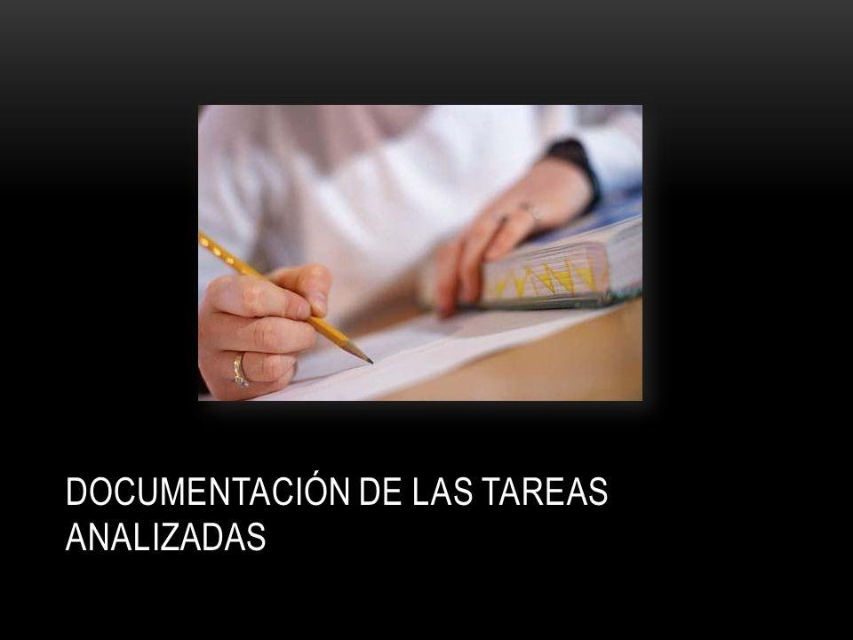 DOCUMENTACIÓN DE LAS TAREAS ANALIZADAS