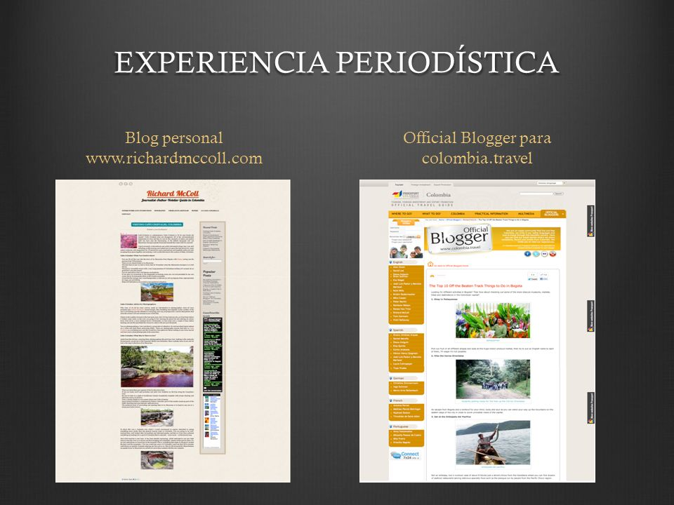 EXPERIENCIA PERIODÍSTICA Blog personal www.richardmccoll.com Official Blogger para colombia.travel