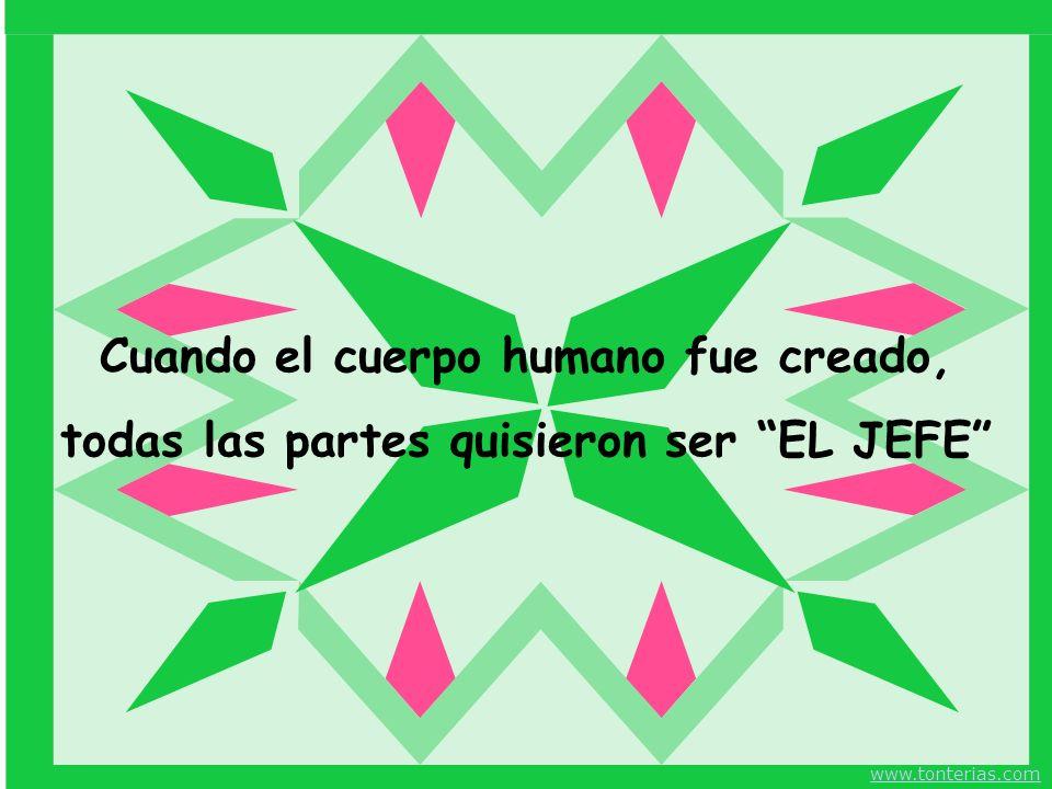 Cuando el cuerpo humano fue creado, todas las partes quisieron ser EL JEFE www.tonterias.com