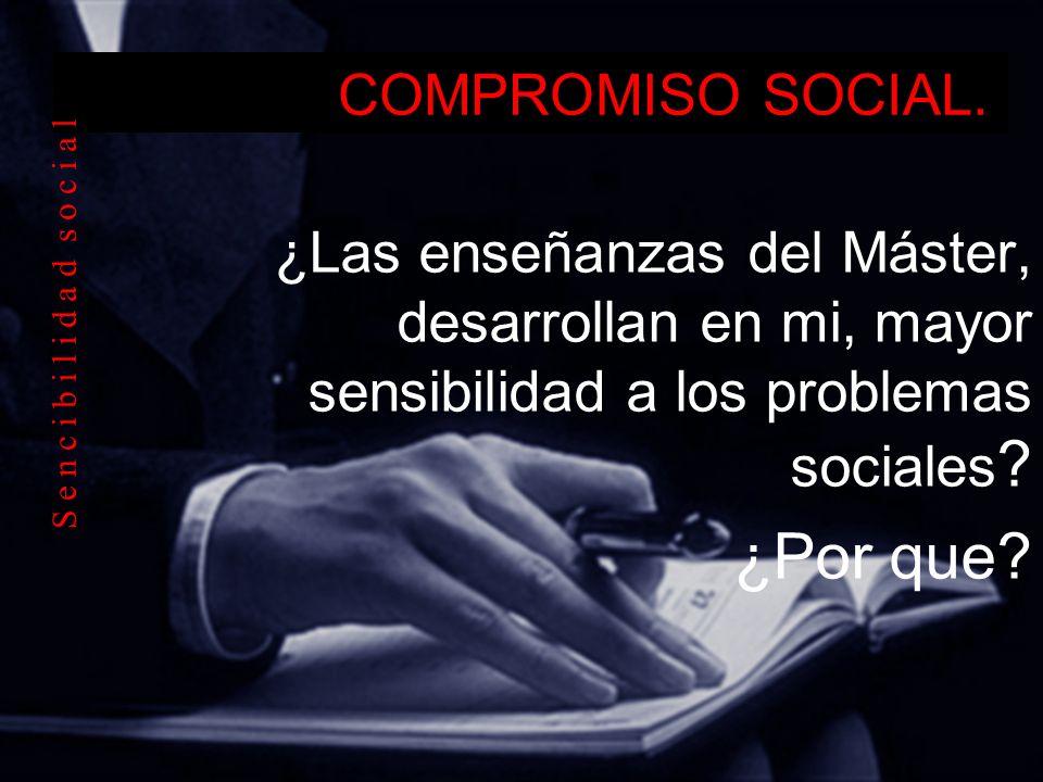 COMPROMISO SOCIAL. ¿Las enseñanzas del Máster, desarrollan en mi, mayor sensibilidad a los problemas sociales ? ¿Por que? S e n c i b i l i d a d s o