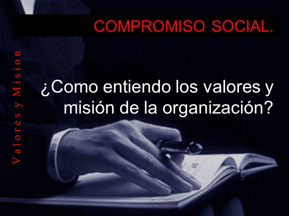 COMPROMISO SOCIAL. ¿Como entiendo los valores y misión de la organización? V a l o r e s y M i s i o n