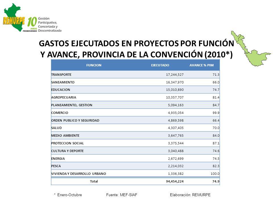 GASTOS EJECUTADOS EN PROYECTOS POR FUNCIÓN Y AVANCE, PROVINCIA DE LA CONVENCIÓN (2010*) * Enero-Octubre Fuente: MEF-SIAF Elaboración: REMURPE FUNCIONE
