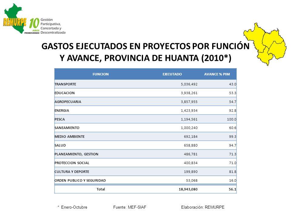 GASTOS EJECUTADOS EN PROYECTOS POR FUNCIÓN Y AVANCE, PROVINCIA DE HUANTA (2010*) * Enero-Octubre Fuente: MEF-SIAF Elaboración: REMURPE FUNCIONEJECUTAD