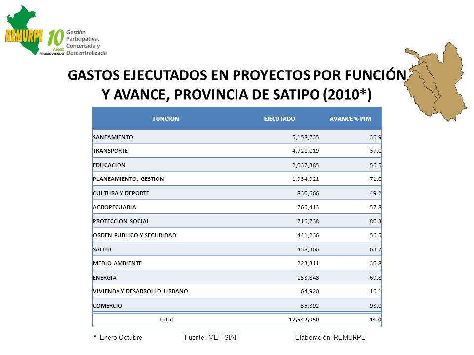 GASTOS EJECUTADOS EN PROYECTOS POR FUNCIÓN Y AVANCE, PROVINCIA DE SATIPO (2010*) * Enero-Octubre Fuente: MEF-SIAF Elaboración: REMURPE FUNCIONEJECUTAD