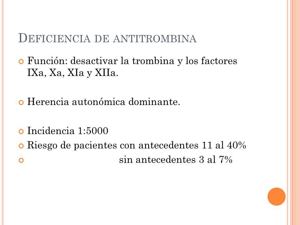P ROFILAXIS No hay consenso Enoxaparina 40mgs diarios (Europa) Enoxaparina 30 mgs cada 12 hrs (USA) Antecedentes trombóticos 4-6 sdg Sin antecedentes trombóticos 20 sdg Después del parto el tratamiento debe continuarse por 6 semanas, si hay problemas trombóticos severos por 3 meses Discontinuar heparina >24hrs antes del parto