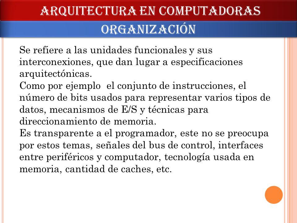 Se refiere a las unidades funcionales y sus interconexiones, que dan lugar a especificaciones arquitectónicas. Como por ejemplo el conjunto de instruc