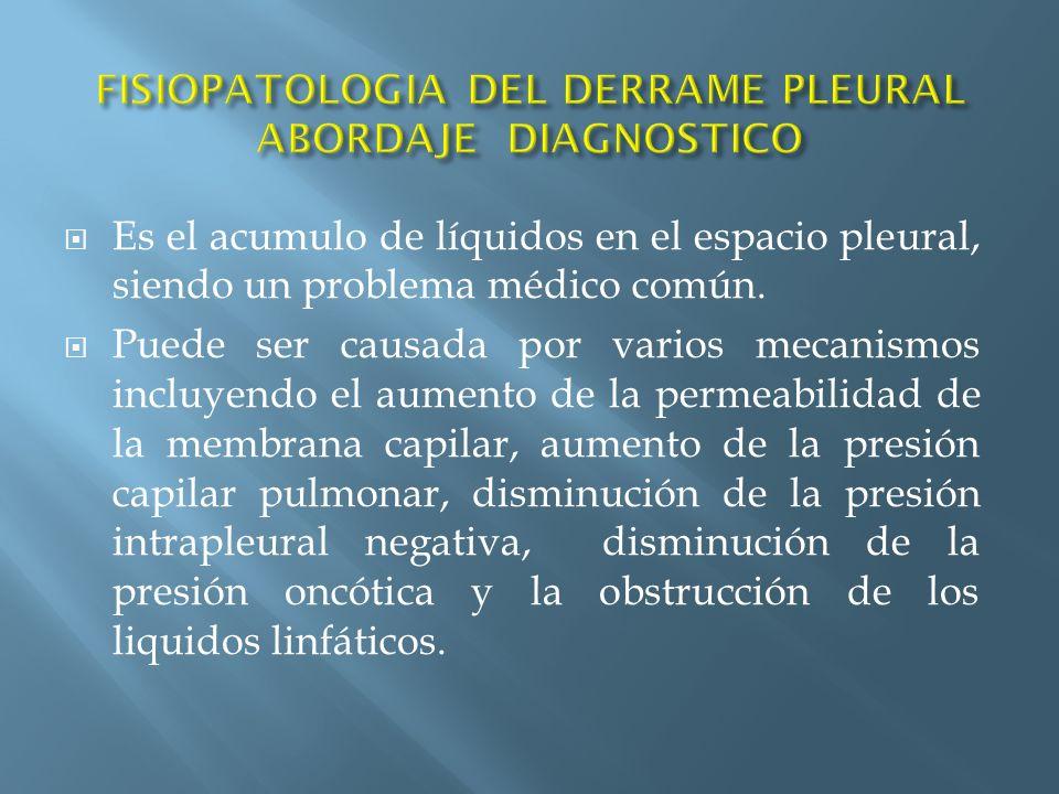 Es el acumulo de líquidos en el espacio pleural, siendo un problema médico común. Puede ser causada por varios mecanismos incluyendo el aumento de la