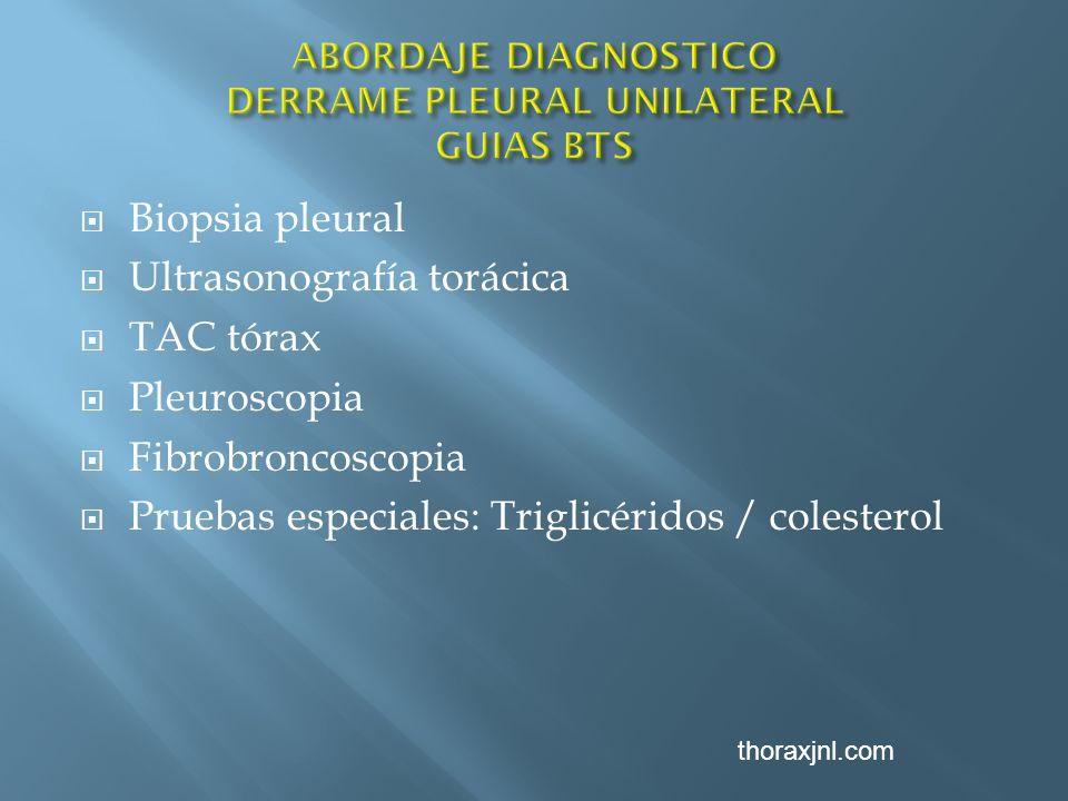 Biopsia pleural Ultrasonografía torácica TAC tórax Pleuroscopia Fibrobroncoscopia Pruebas especiales: Triglicéridos / colesterol thoraxjnl.com