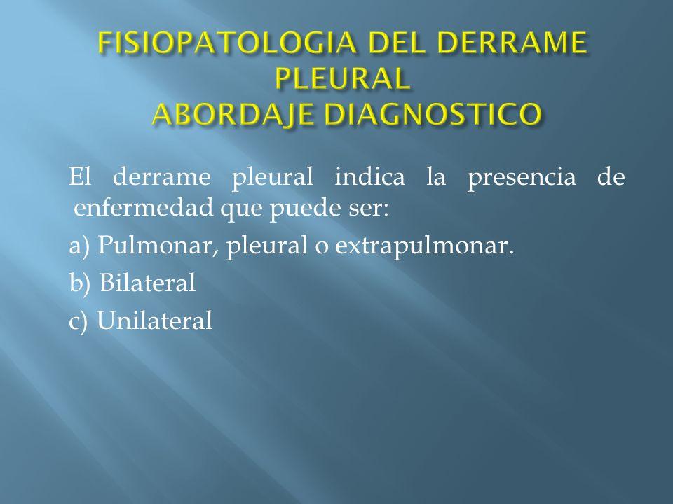 El derrame pleural indica la presencia de enfermedad que puede ser: a) Pulmonar, pleural o extrapulmonar. b) Bilateral c) Unilateral