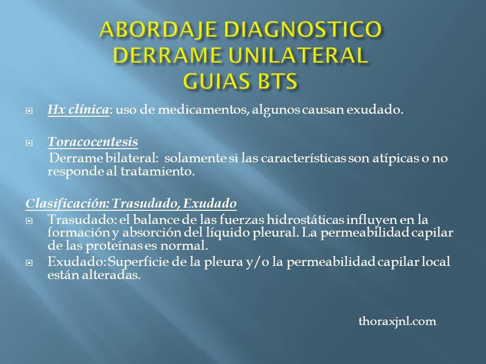 Hx clínica : uso de medicamentos, algunos causan exudado. Toracocentesis Derrame bilateral: solamente si las características son atípicas o no respond