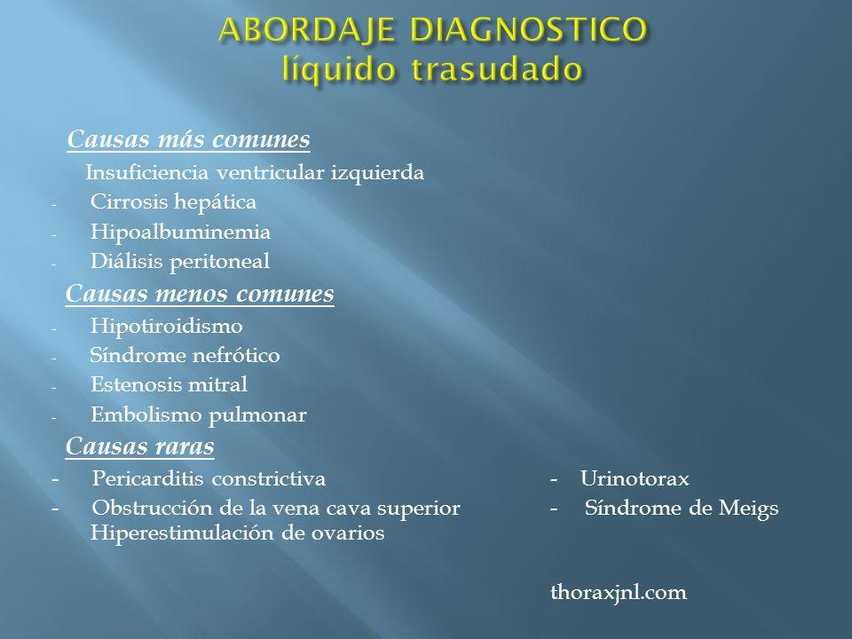 Causas más comunes Insuficiencia ventricular izquierda - Cirrosis hepática - Hipoalbuminemia - Diálisis peritoneal Causas menos comunes - Hipotiroidis