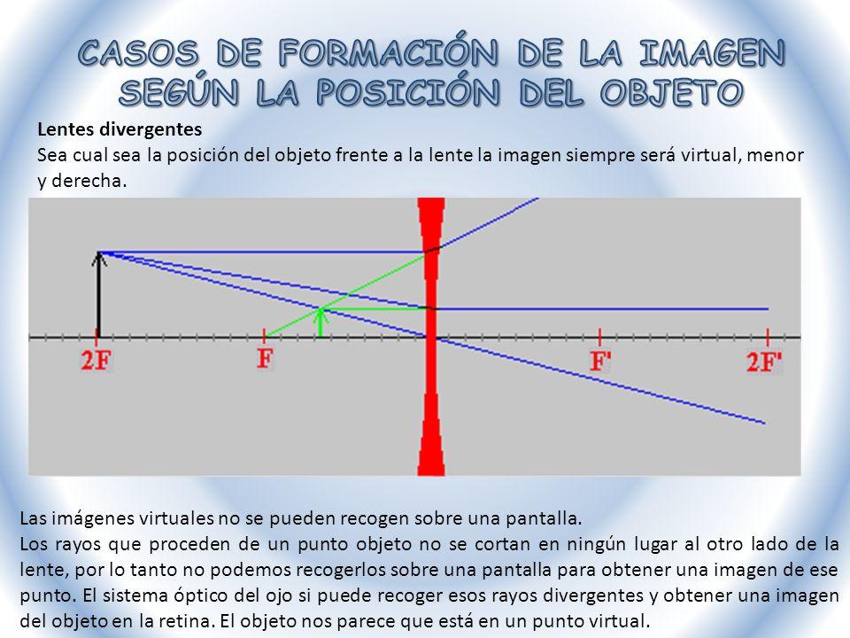 Lentes divergentes Sea cual sea la posición del objeto frente a la lente la imagen siempre será virtual, menor y derecha. Las imágenes virtuales no se