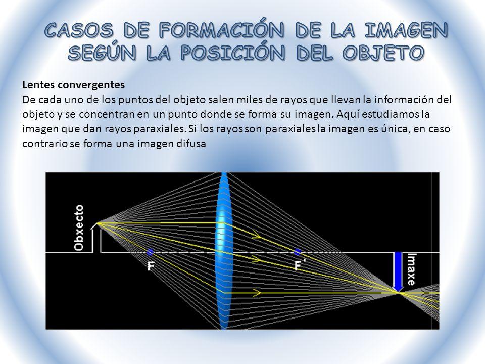 Lentes convergentes De cada uno de los puntos del objeto salen miles de rayos que llevan la información del objeto y se concentran en un punto donde s