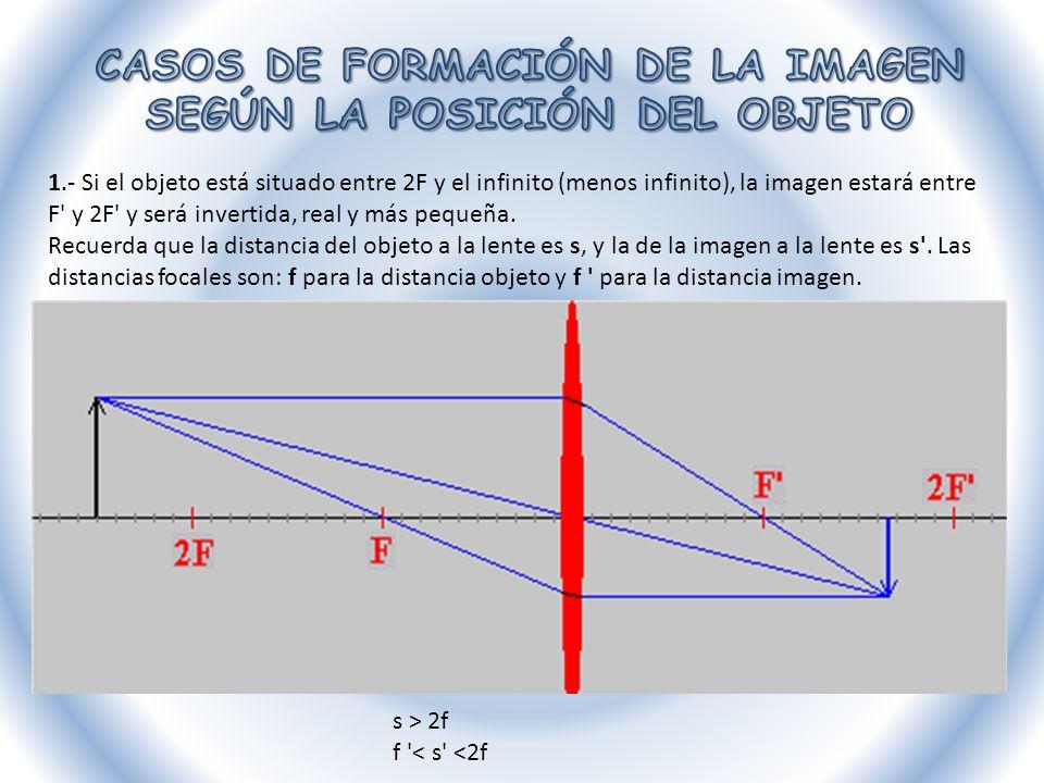 1.- Si el objeto está situado entre 2F y el infinito (menos infinito), la imagen estará entre F' y 2F' y será invertida, real y más pequeña. Recuerda