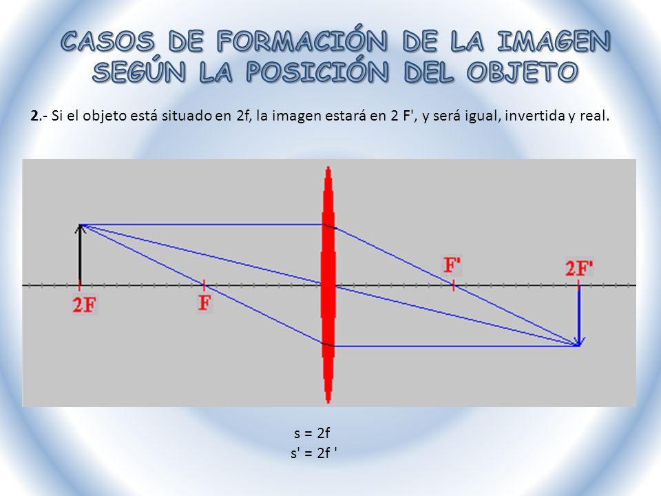 2.- Si el objeto está situado en 2f, la imagen estará en 2 F', y será igual, invertida y real. s = 2f s' = 2f '