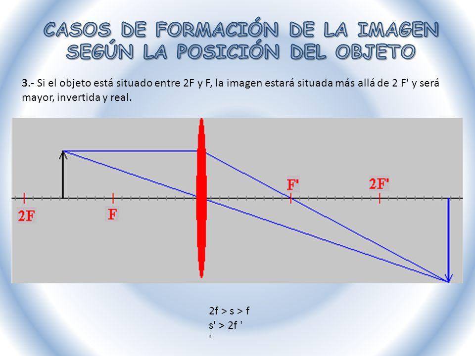 3.- Si el objeto está situado entre 2F y F, la imagen estará situada más allá de 2 F' y será mayor, invertida y real. 2f > s > f s' > 2f ' '