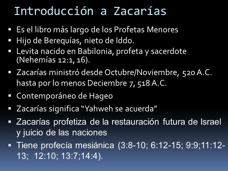 Introducción a Zacarías Es el libro más largo de los Profetas Menores Hijo de Berequías, nieto de Iddo. Levita nacido en Babilonia, profeta y sacerdot
