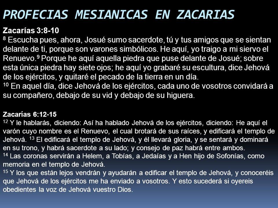 PROFECIAS MESIANICAS EN ZACARIAS Zacarías 3:8-10 8 Escucha pues, ahora, Josué sumo sacerdote, tú y tus amigos que se sientan delante de ti, porque son