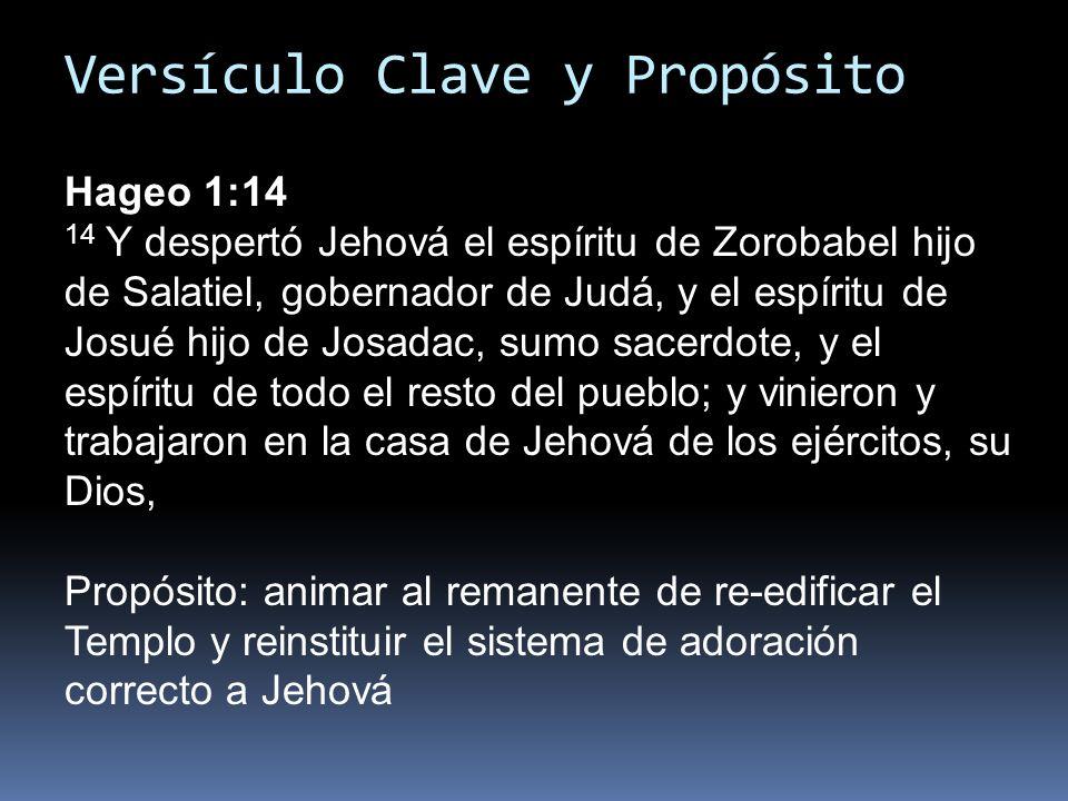 Versículo Clave y Propósito Hageo 1:14 14 Y despertó Jehová el espíritu de Zorobabel hijo de Salatiel, gobernador de Judá, y el espíritu de Josué hijo