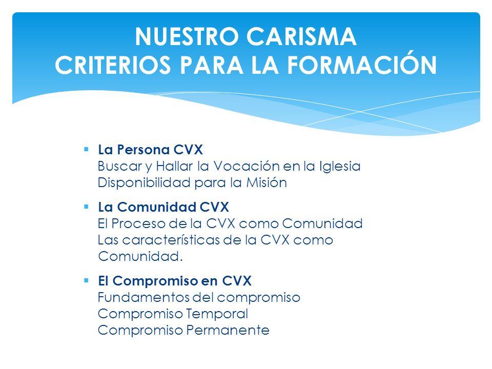 La Persona CVX Buscar y Hallar la Vocación en la Iglesia Disponibilidad para la Misión La Comunidad CVX El Proceso de la CVX como Comunidad Las caract