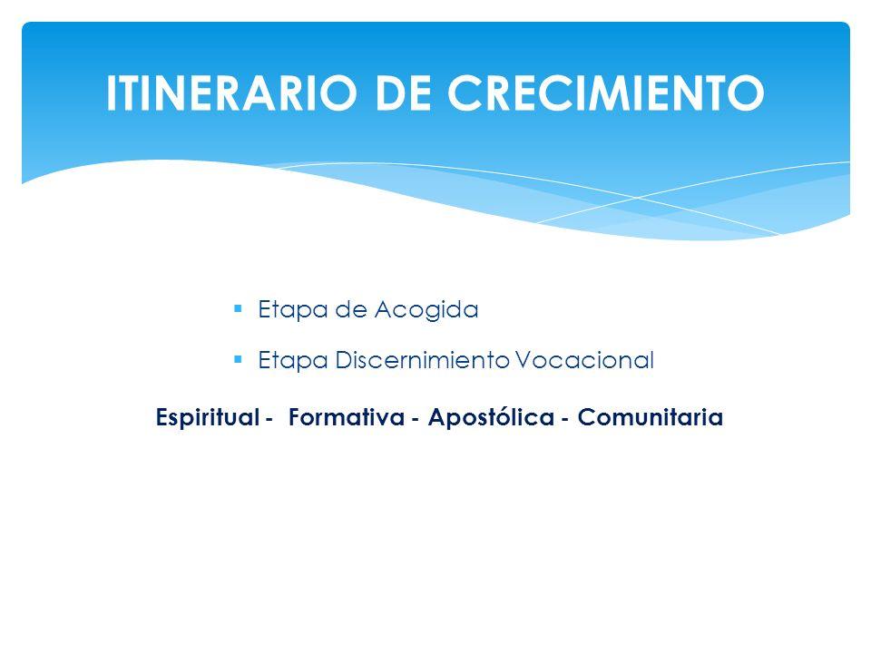 Etapa de Acogida Etapa Discernimiento Vocacional Espiritual - Formativa - Apostólica - Comunitaria ITINERARIO DE CRECIMIENTO