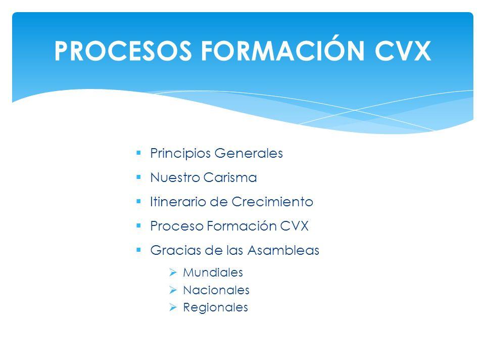 Principios Generales Nuestro Carisma Itinerario de Crecimiento Proceso Formación CVX Gracias de las Asambleas Mundiales Nacionales Regionales PROCESOS