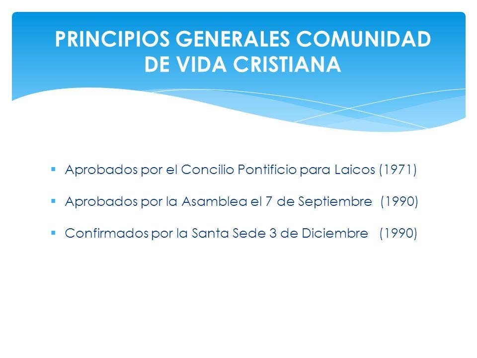 Aprobados por el Concilio Pontificio para Laicos (1971) Aprobados por la Asamblea el 7 de Septiembre (1990) Confirmados por la Santa Sede 3 de Diciemb
