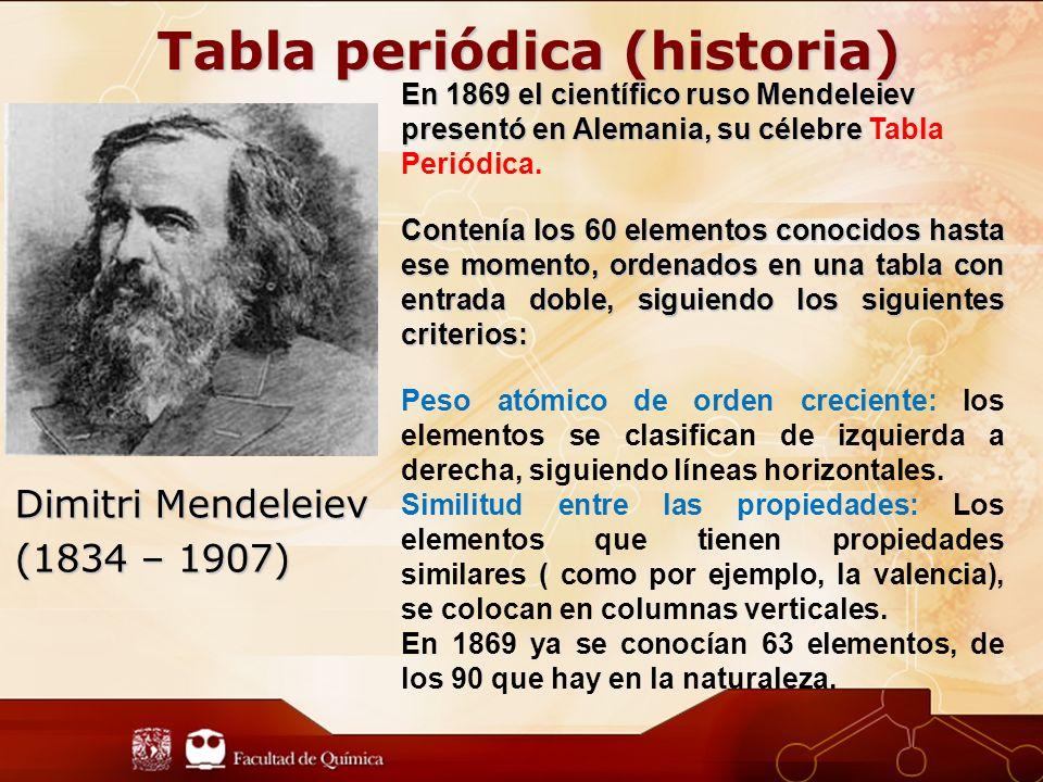Dimitri Mendeleiev (1834 – 1907) En 1869 el científico ruso Mendeleiev presentó en Alemania, su célebre En 1869 el científico ruso Mendeleiev presentó en Alemania, su célebre Tabla Periódica.
