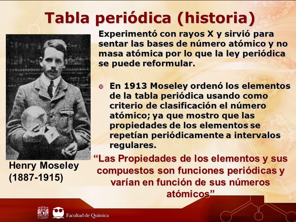 Experimentó con rayos X y sirvió para sentar las bases de número atómico y no masa atómica por lo que la ley periódica se puede reformular.