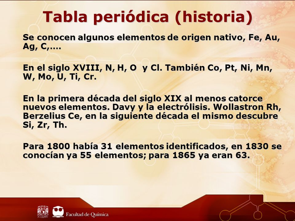 Cuando a principios del siglo XIX se midieron las masas atómicas de una gran cantidad de elementos, se observó que ciertas propiedades variaban periódicamente en relación a su masa.