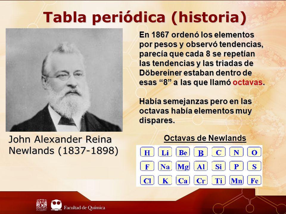John Alexander Reina Newlands (1837-1898) En 1867 ordenó los elementos por pesos y observó tendencias, parecía que cada 8 se repetían las tendencias y las triadas de Döbereinerestaban dentro de esas 8 a las que llamó octavas.