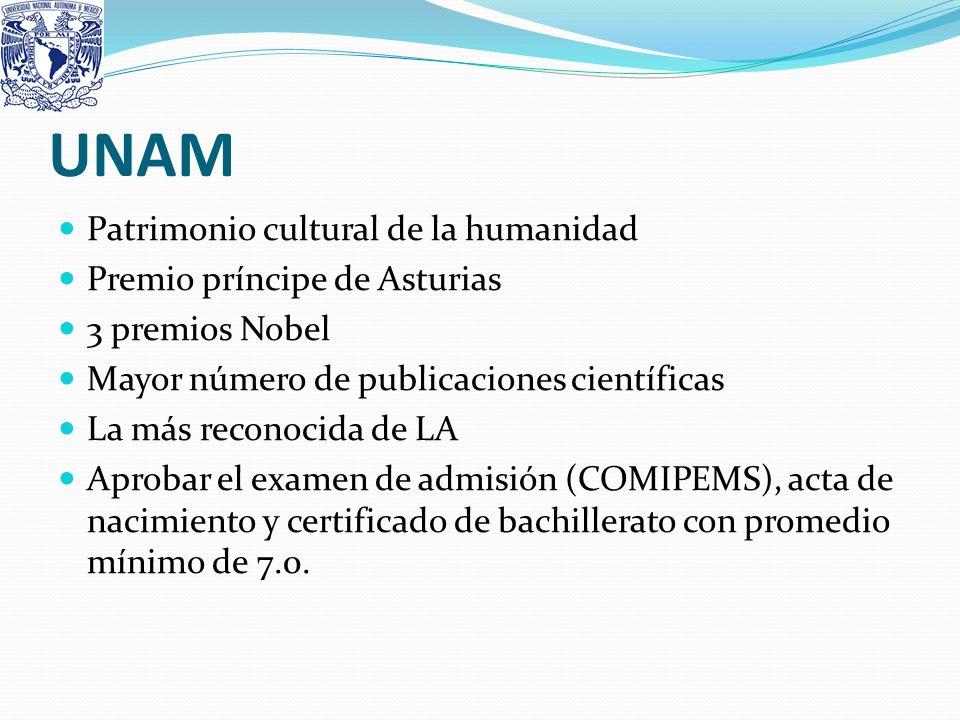 UNAM Patrimonio cultural de la humanidad Premio príncipe de Asturias 3 premios Nobel Mayor número de publicaciones científicas La más reconocida de LA